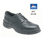 Black Leather Brogue Safety Shoe (411)