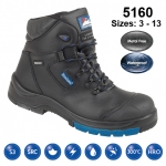Black Leather Fully Waterproof Safety Boot (5160)