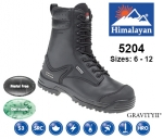 Black Leather Safety Combat Boot (5204)