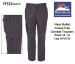 Bullet CREASE FREE Combat Trousers Mens Navy (H722)