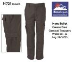 Bullet CREASE FREE Combat Trousers Mens Black (H721)