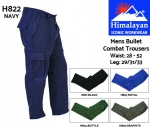 Bullet Combat Trousers Mens Navy (H822)