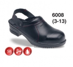 CLEARANCE Black Leather Safety Clog (6008)