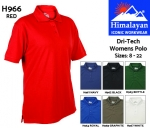 Dri-Tech Womens Red Polo Shirt (H966)